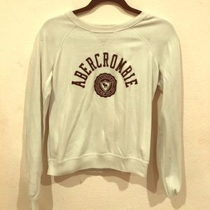 A&F White and Blue Pullover Crewneck Sweatshirt